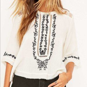 Kimchi Blue Embroidered Lace White Blouse, M